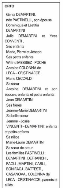 Deuil dans la famille Demartini