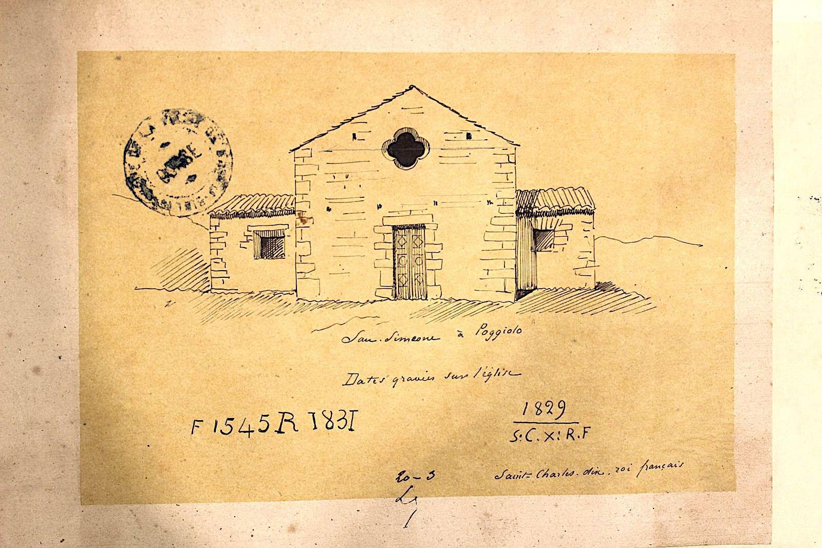 Eglise St Siméon de Poggiolo en 1856 (Archives Départementales).