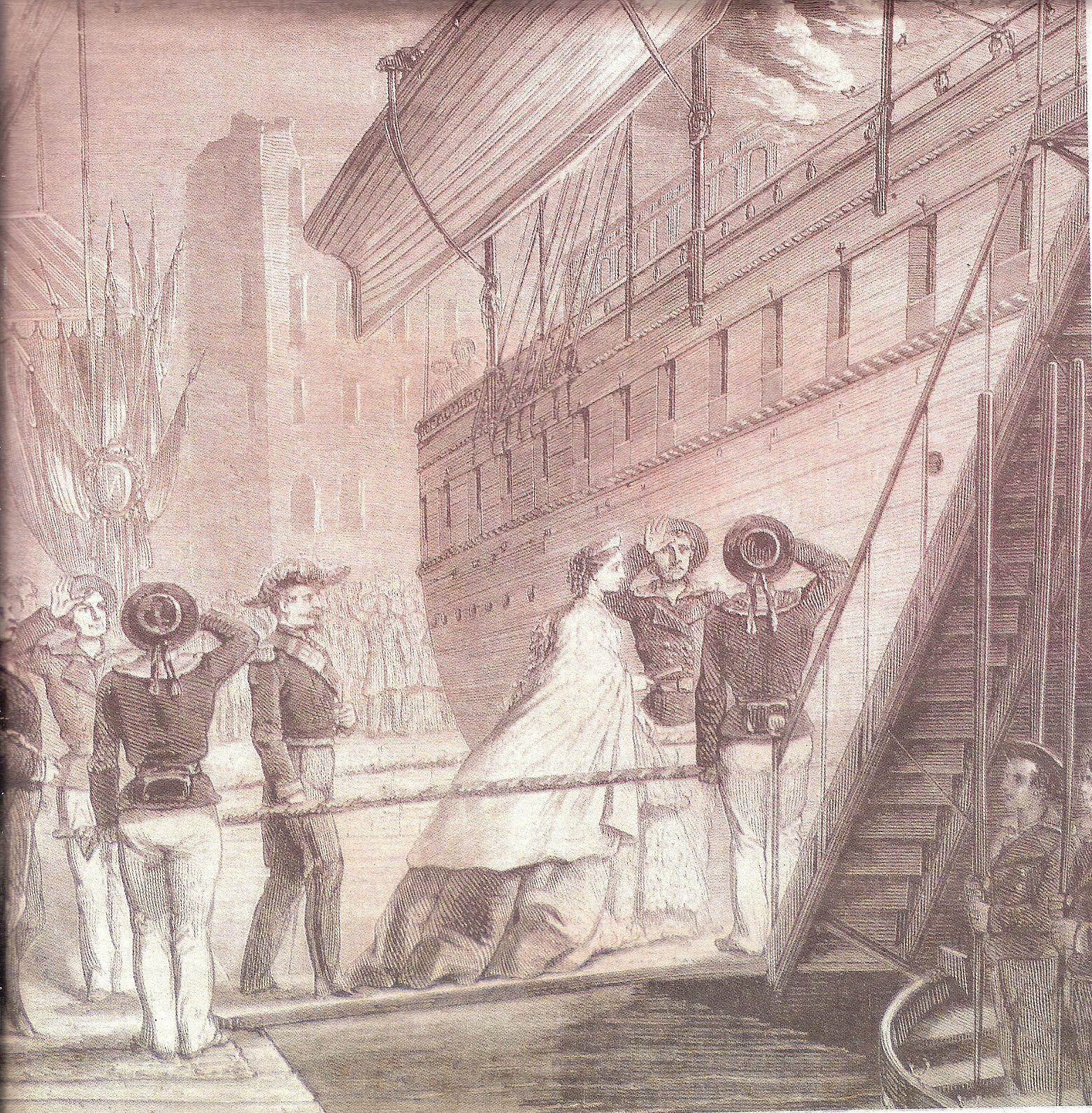 Napoléon et Eugénie embarquant à Marseille pour la Corse.