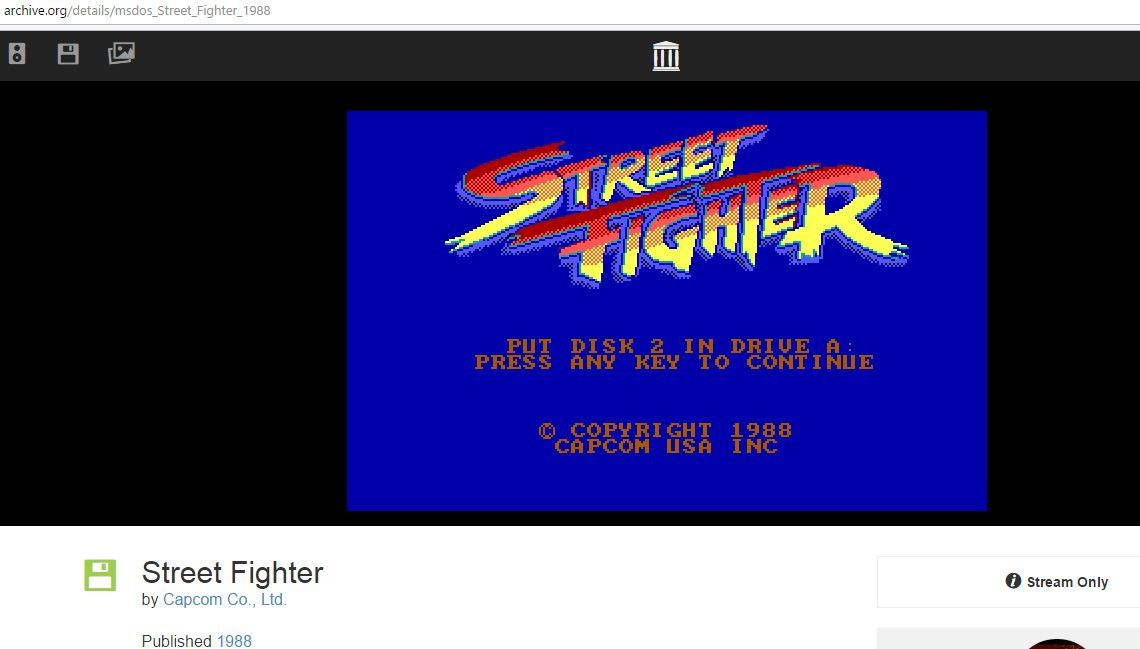 Street Fighter, sortie en 1988, une partie jouable grâce à l'internet Archive !