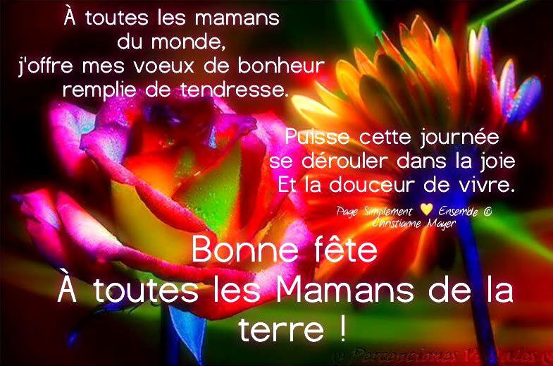 Une bonne fête à vous toutes les mamans ....et bonne journée