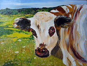 La Vache trop prés 50 x 50 et Revache 46 x 60