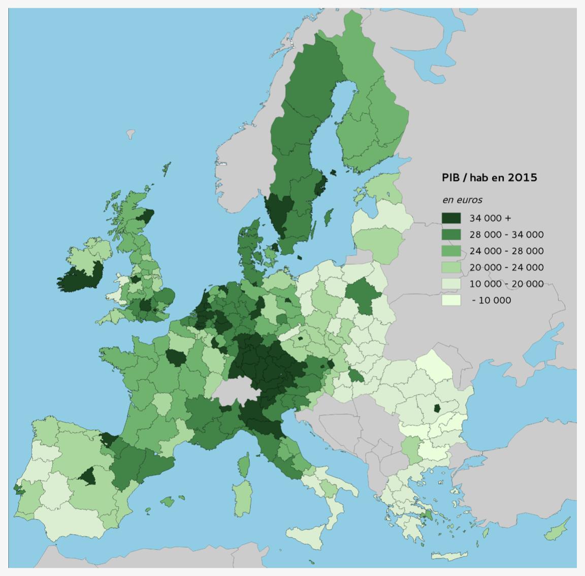 carte des inégalités régionales en termes de PIB/hab. dans l'UE en 2015