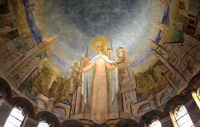 Sainte Geneviève bénissant et protégeant Paris et Nanterre, fresque de Leon Toublanc, Cathédrale Sainte Geneviève et Saint Maurice de Nanterre