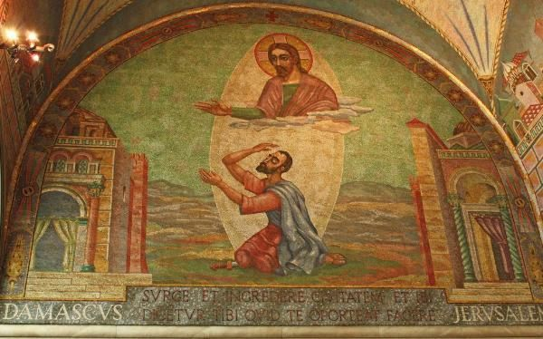 The Conversion of St Paul - This mosaic by Boris Anrep is in St Paul's chapel in Westminster Cathedral - Photo by Lawrence OP at flickr.com
