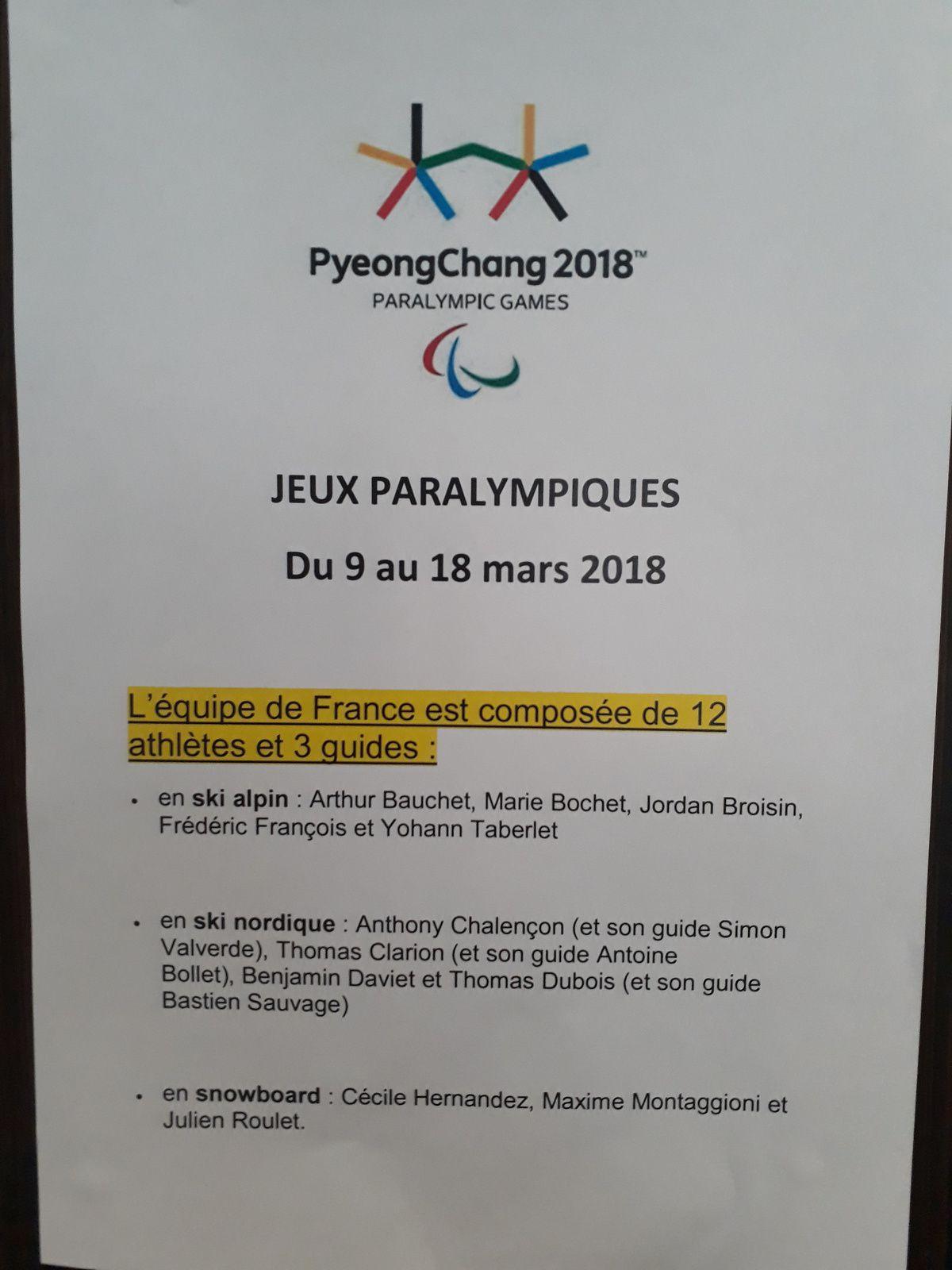 Début des jeux Paralympiques 2018