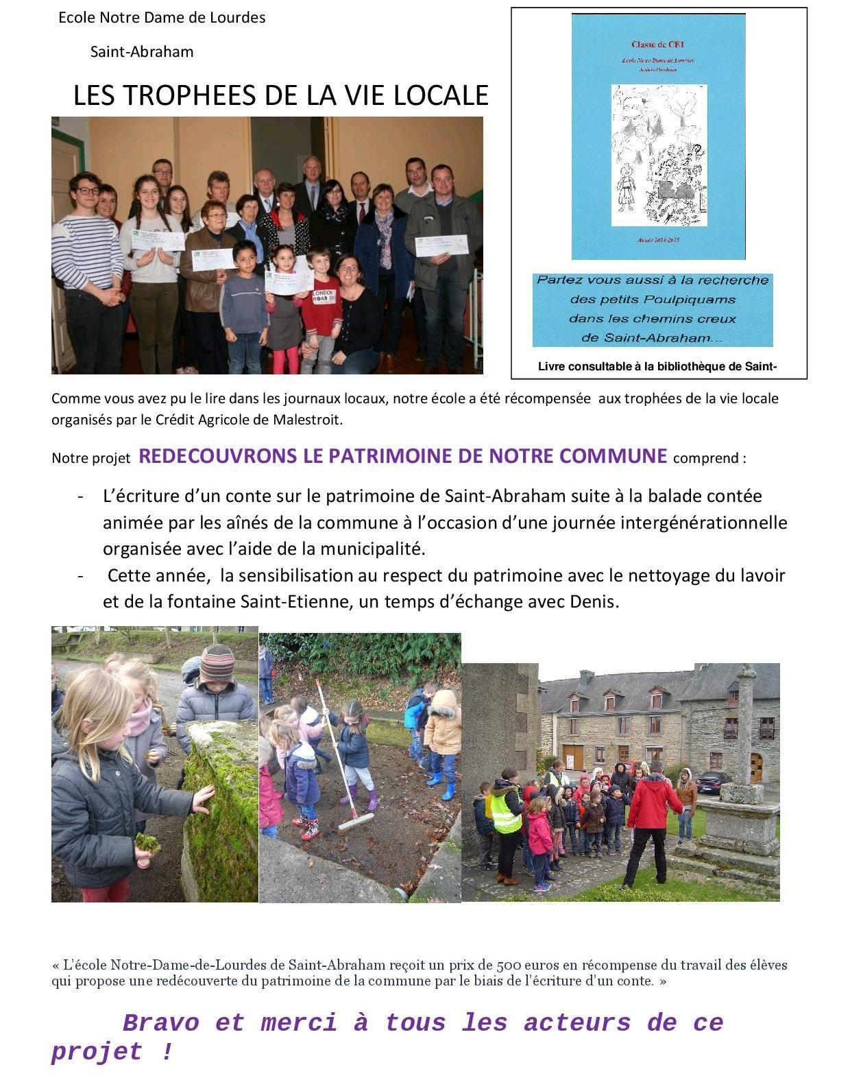 L'école de St Abraham récompensée aux Trophées de la vie locale!