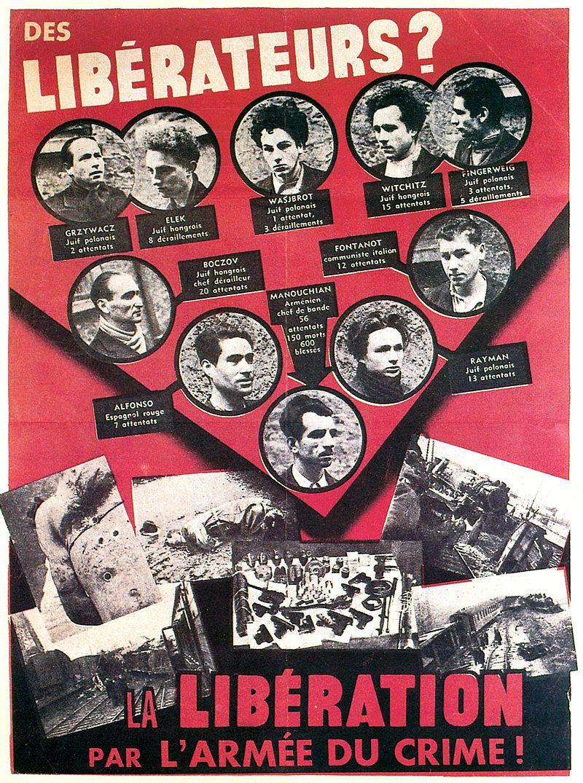 21 février 1944, les 22 membres du groupe Manouchian sont fusillés par les nazis, la seule femme du groupe sera décapitée le 10 mai 1944