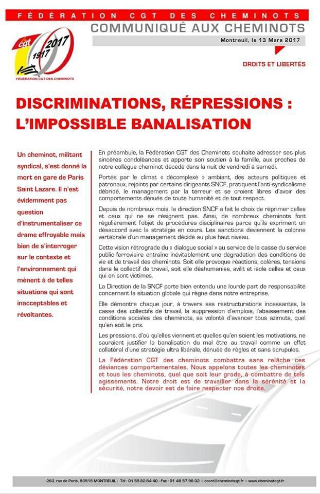 Suicide d'un cheminot délégué Sud-rail sur son lieu de travail à Paris Saint-Lazare