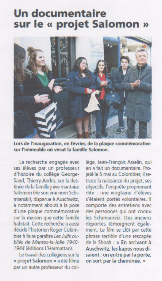 ARTICLE DU COURRIER DE MANTES