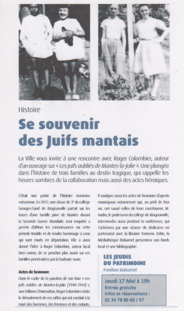 ARTICLE DE LA FEUILLE DE MANTES