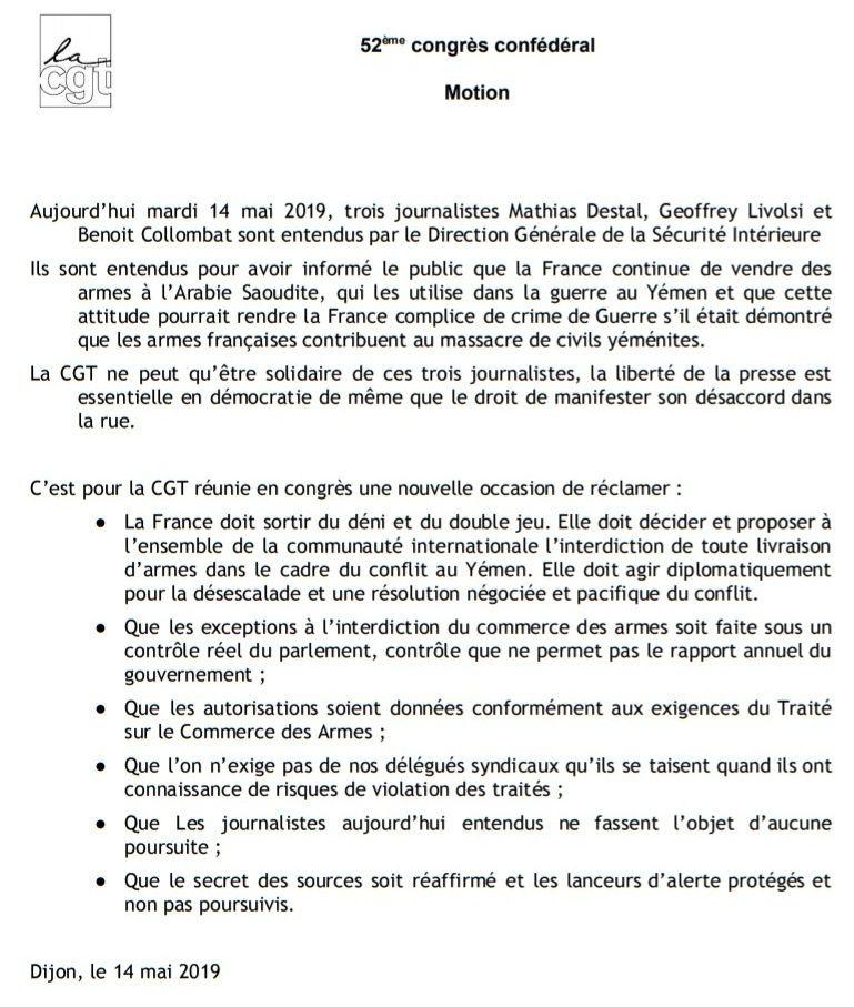 Armes françaises vendues à l'Arabie saoudite pour massacrer au Yémen: 3 journalistes français par la DGSI