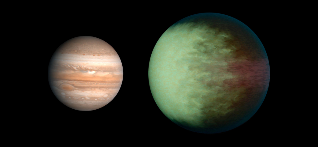 Comparaison de taille entre Kepler-7b (à droite) et Jupiter (à gauche) Par Aldaron, a.k.a. Aldaron — Travail personnel, incorporating public domain images for reference planets (see below), inspired by Thingg's size comparison, CC BY-SA 3.0, https://commons.wikimedia.org/w/index.php?curid=8909347