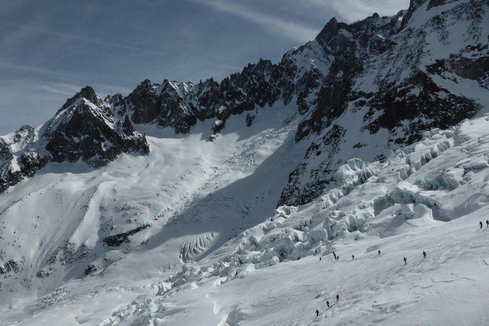 Arrivée sur le glacier du Géant