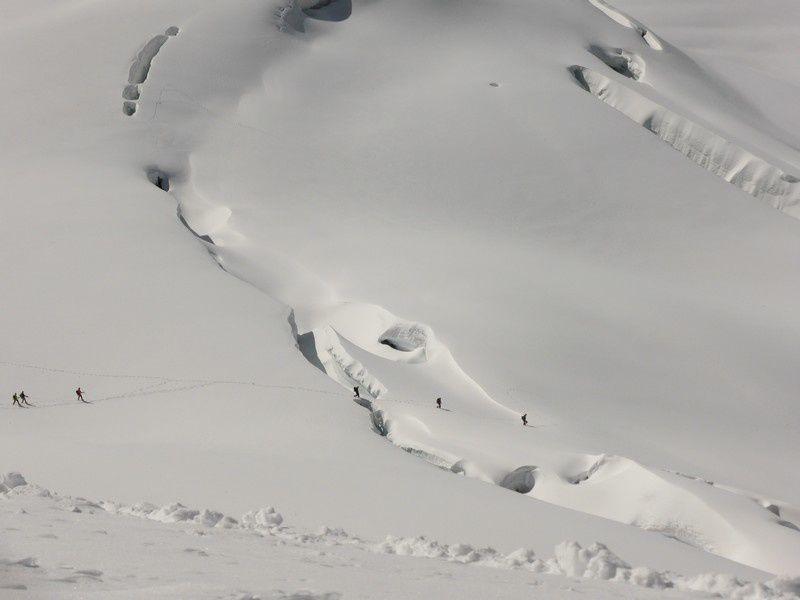 les crevasses à la descente