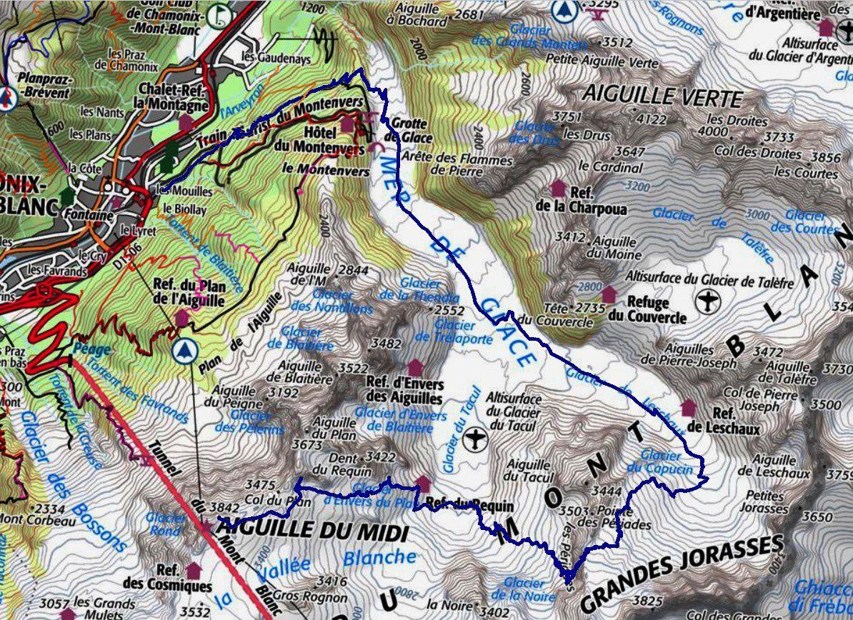 Ski de Rando : Brèche Puiseux - glacier du Mont mallet