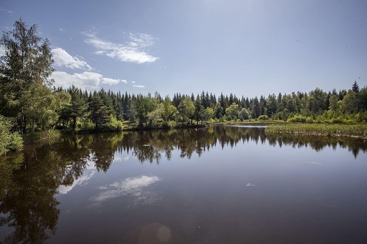 Le lac de l'Auradou. Bel endroit de pic-nic pour midi.
