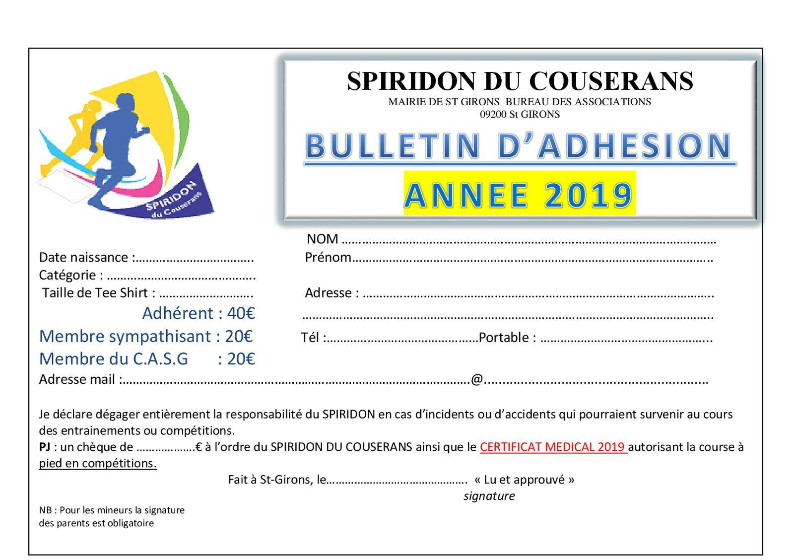 Le bulletin d'adhésion 2019