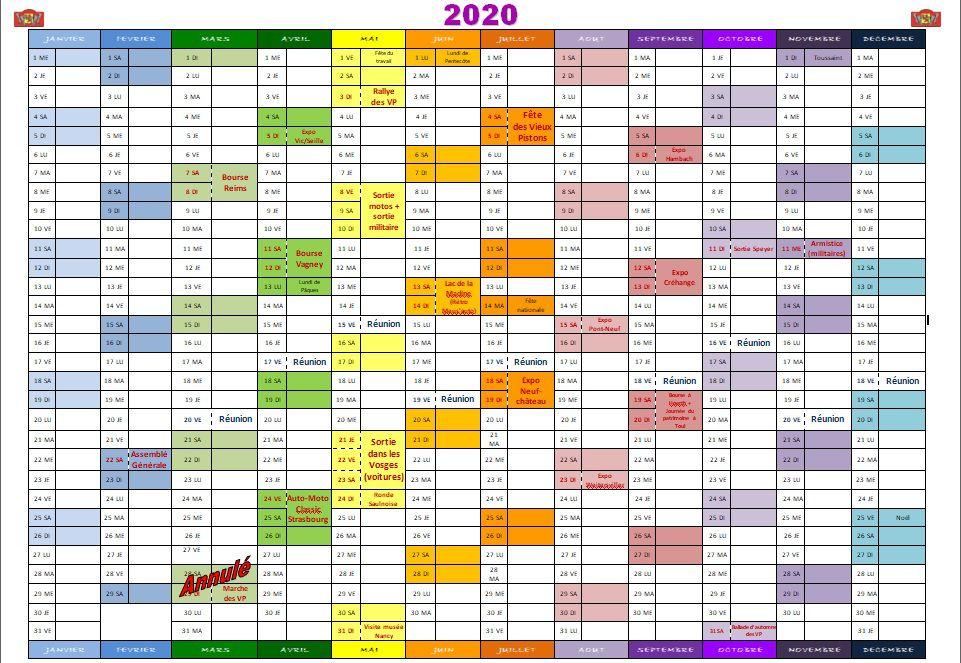 Calendrier 2020 des Vieux Pistons