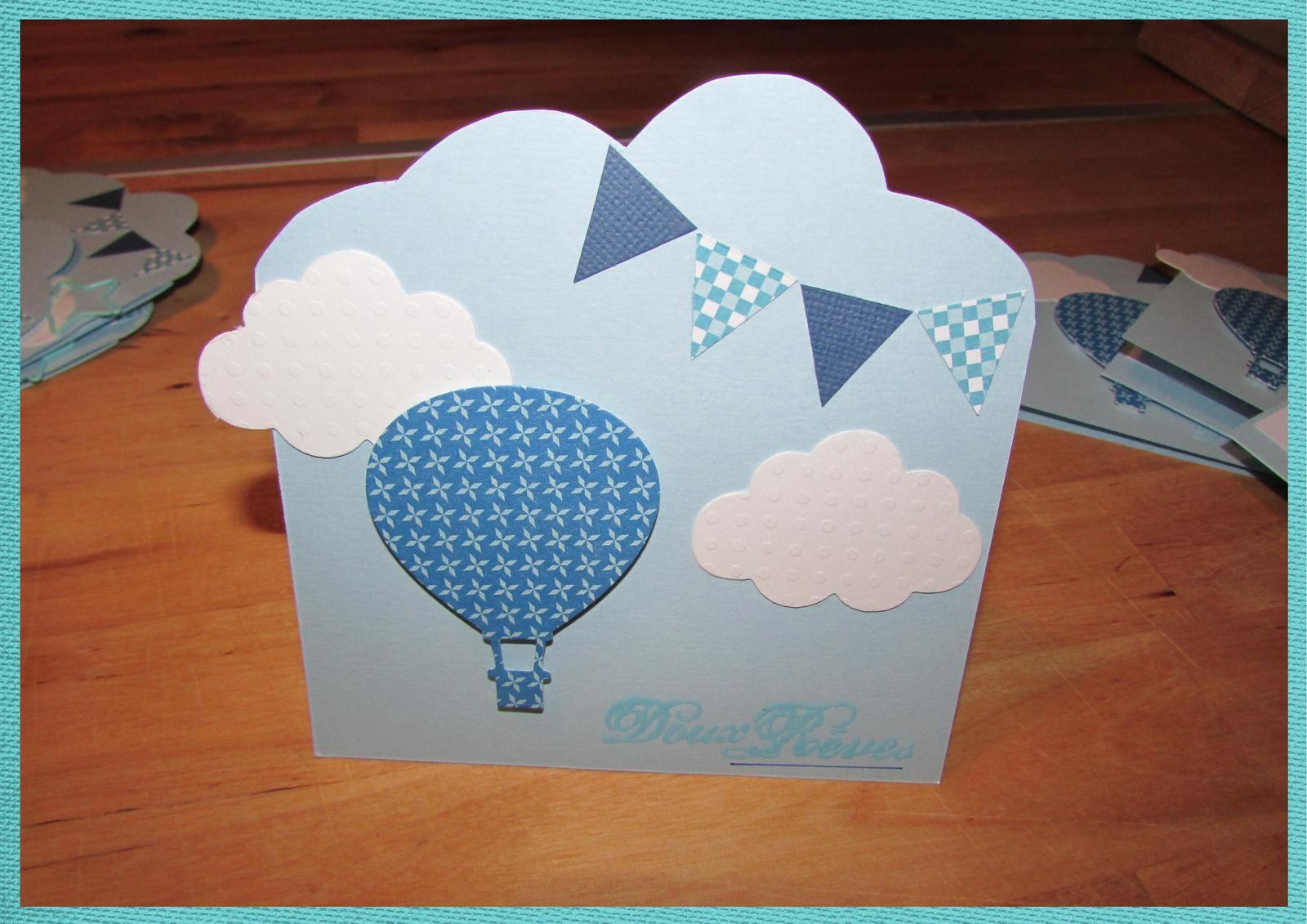 Carton d'invitation baptême Quentin (thème montgolfière et nuage)