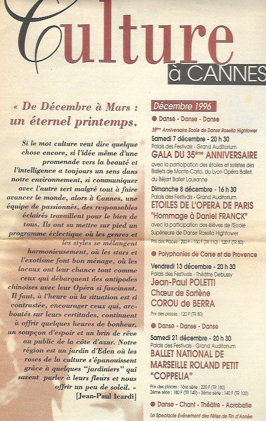 Pour informer le public de Cannes des programmations de Bernard Oheix, qui mieux que Jean-Paul Icardi pour le faire !
