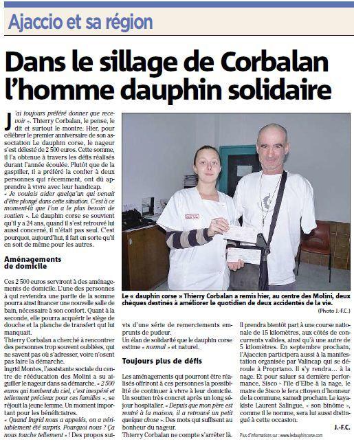 """Pour sa première année d'existence l'association le """"Dauphin Corse"""" à pu reverser 2500 € pour aider deux personnes handicapées."""