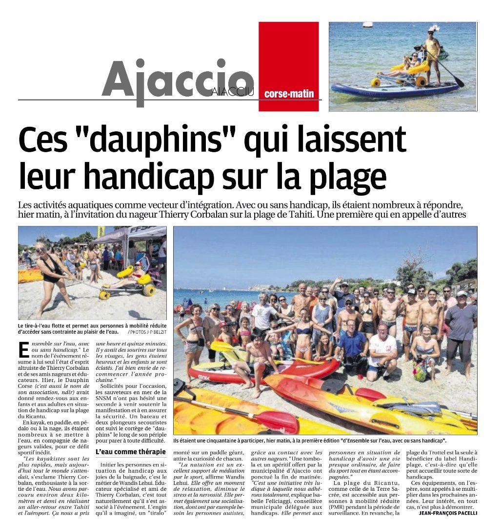 Article Corse matin du 08 juillet 2018