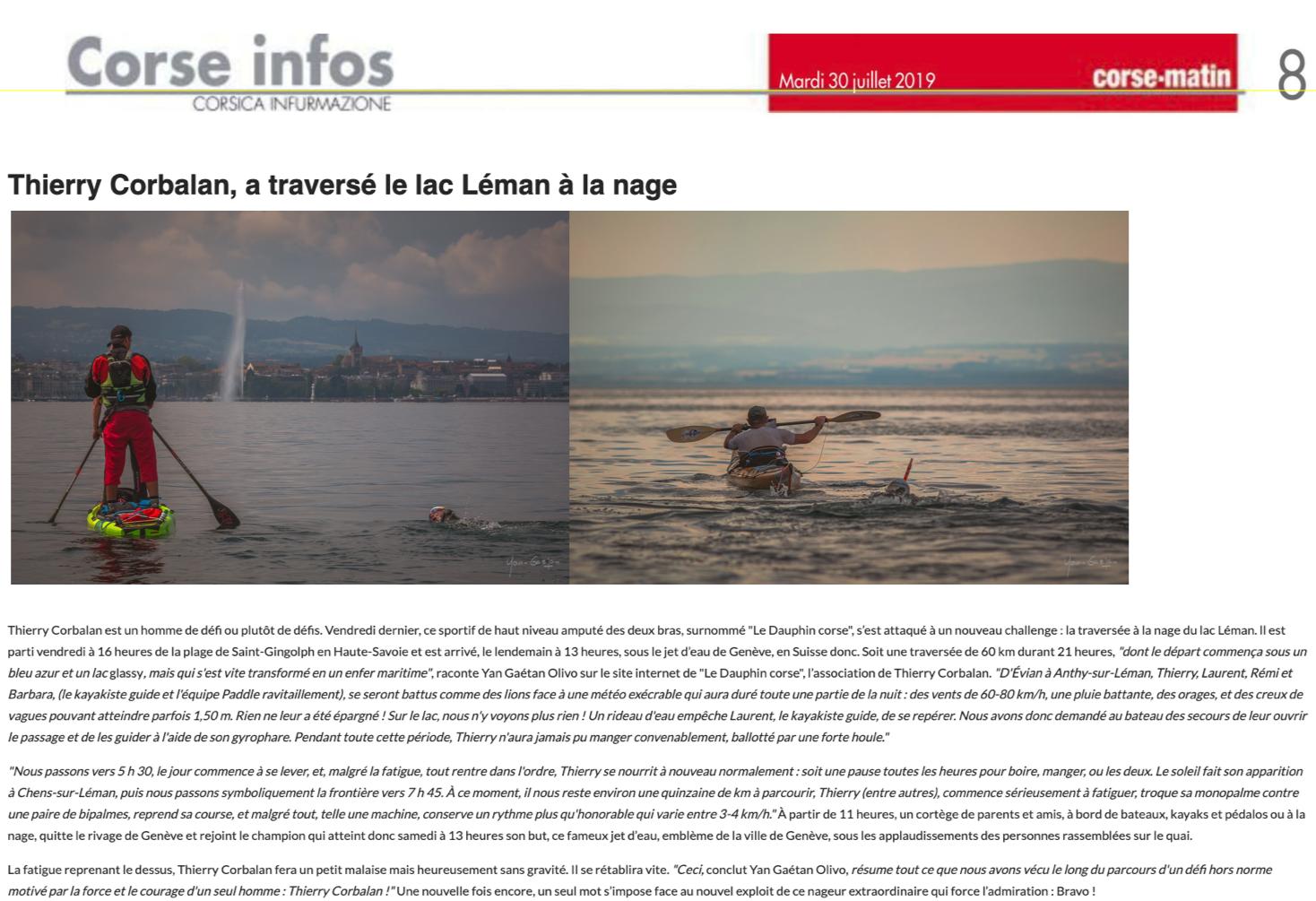 Article Léman Corse matin du 30/07/2019