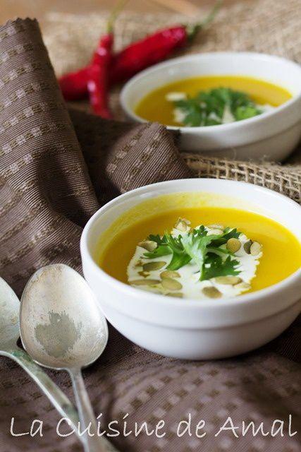Soupe de potiron et poireaux épicé