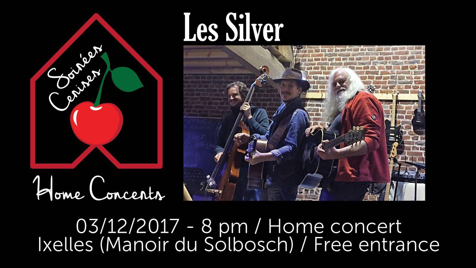 ▶ Concert en appartement avec les Silver (trio acoustique de reprises rock années '70) @ Manoir du Solbosch (Ixelles) - 03/12/2017 - 20h00