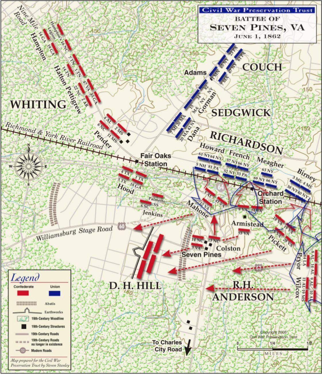 carte issue de : Civil War Trust's map of the 1862 Peninsula