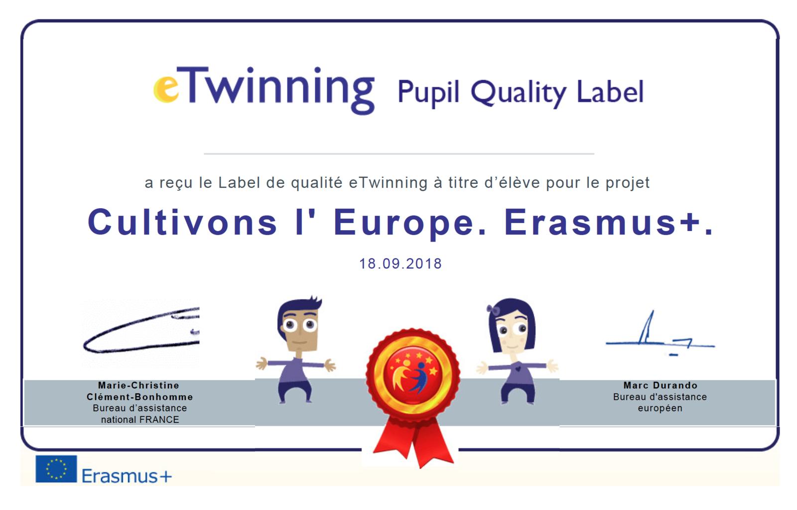 Un label de qualité européen pour notre projet Erasmus+ Cultivons l'Europe