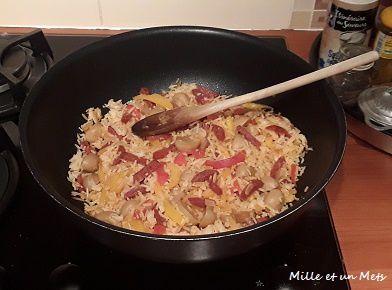 Poêlée de riz, poivrons & chorizo