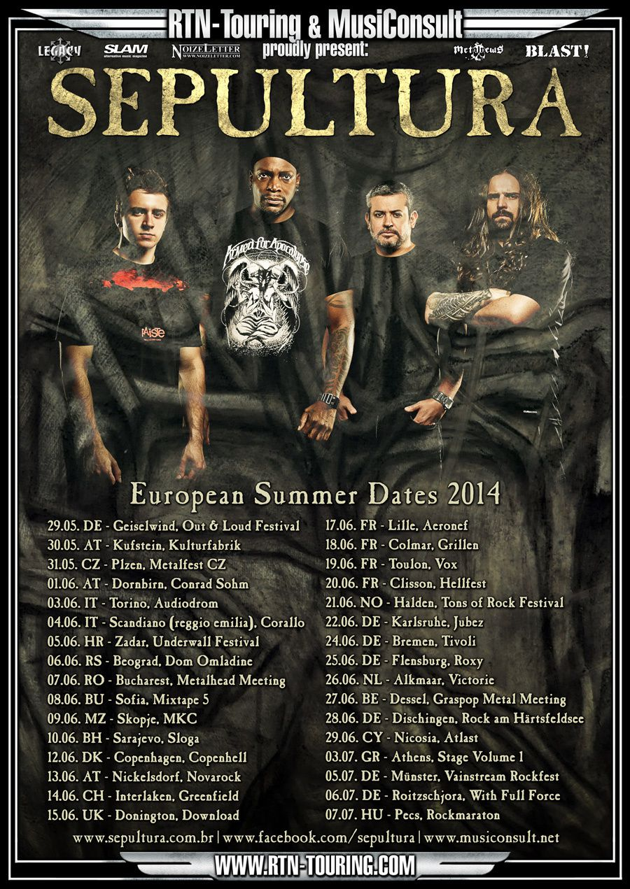 SEPULTURA on tour in Europe in summer