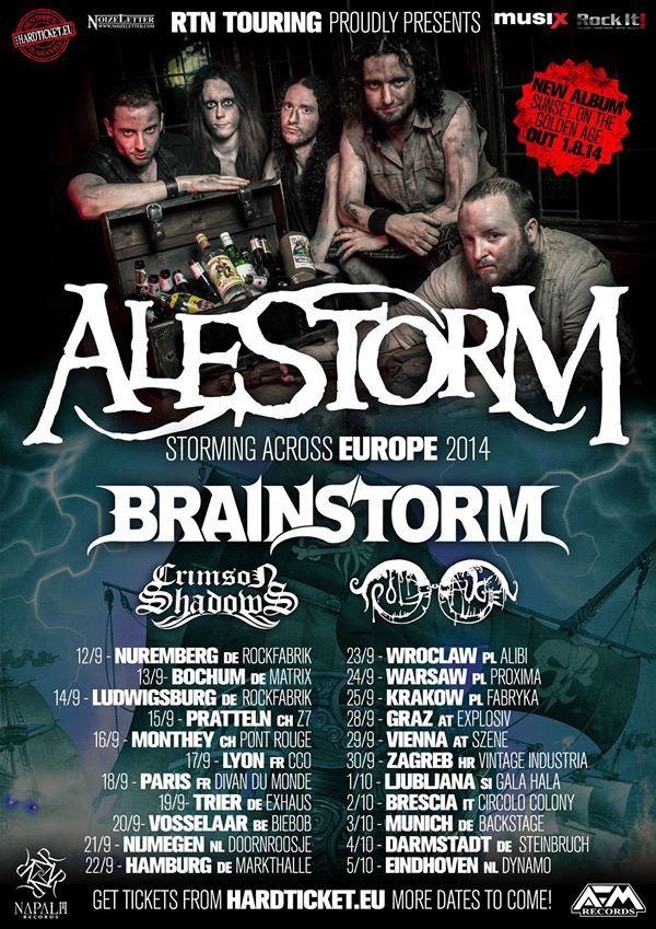 ALESTORM on tour with BRAINSTORM and CRIMSON SHADOW