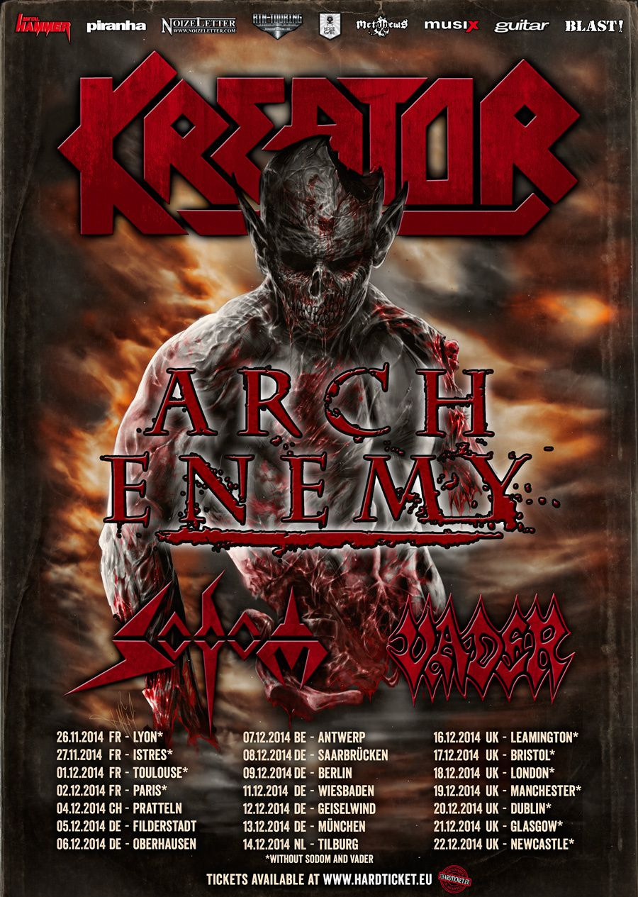 KREATOR tour 2014 with ARCH ENEMY, SODOM & VADER