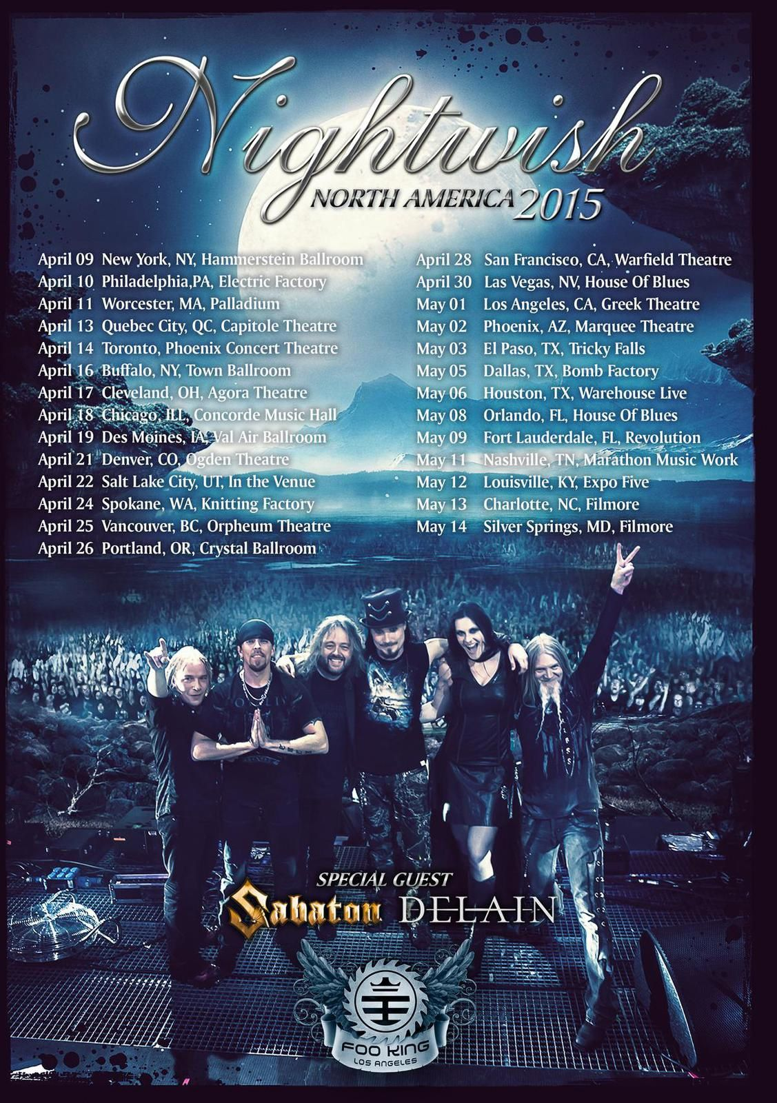 NIGHTWISH on tour in North America together with SABATON and DELAIN nd