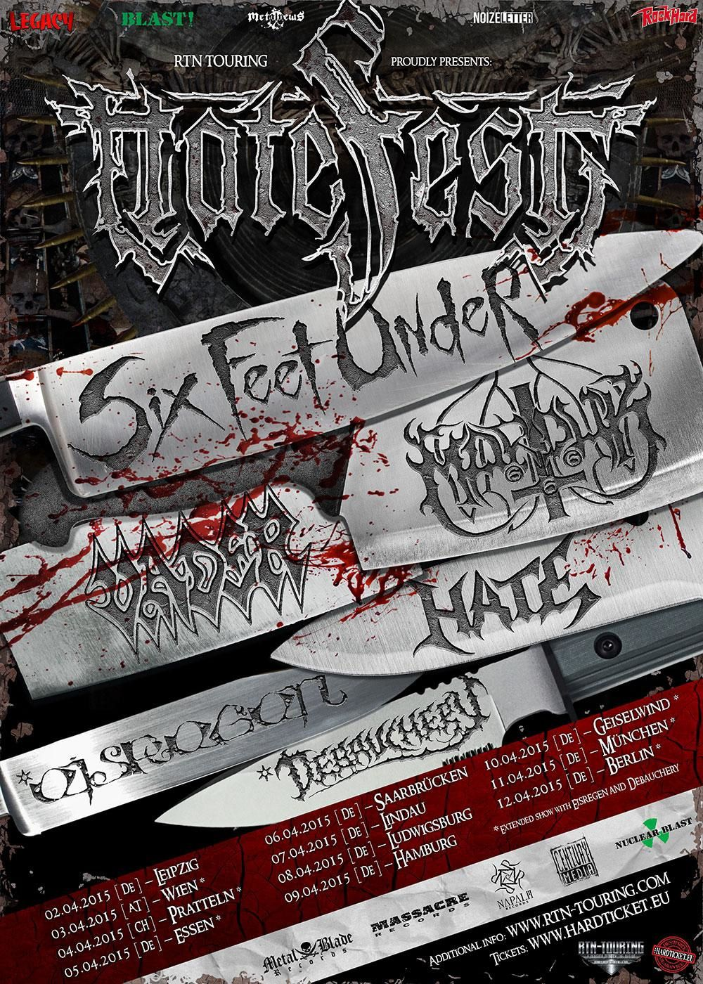 Hatefest dates 2015 - with SIX FEET UNDER, VADER and more