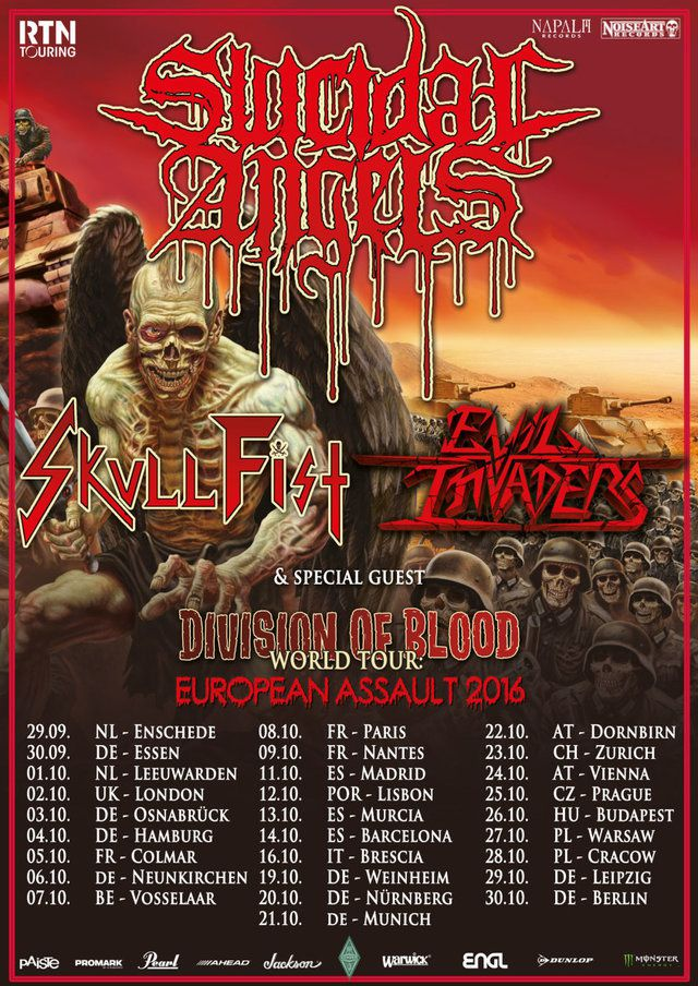 SUICIDAL ANGELS on tour with SKULL FIST and EVIL INVADERS