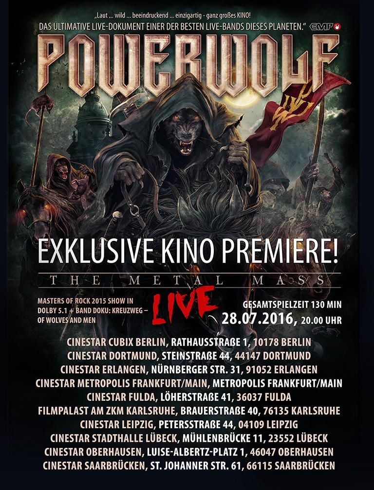 POWERWOLF DVD and cinema event