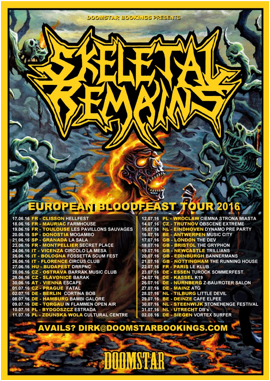 Here are some SKELTAL REMAINS tour dates for Europe