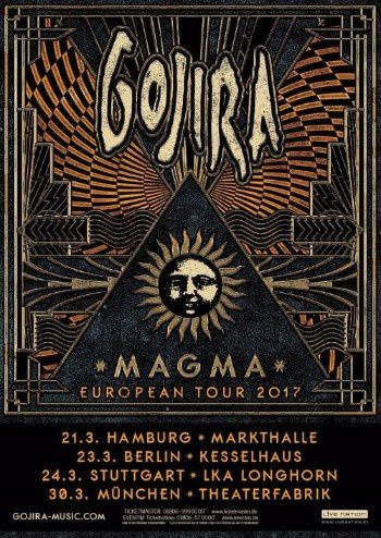 GOJIRA tour dates for Europe and UK in March 2017