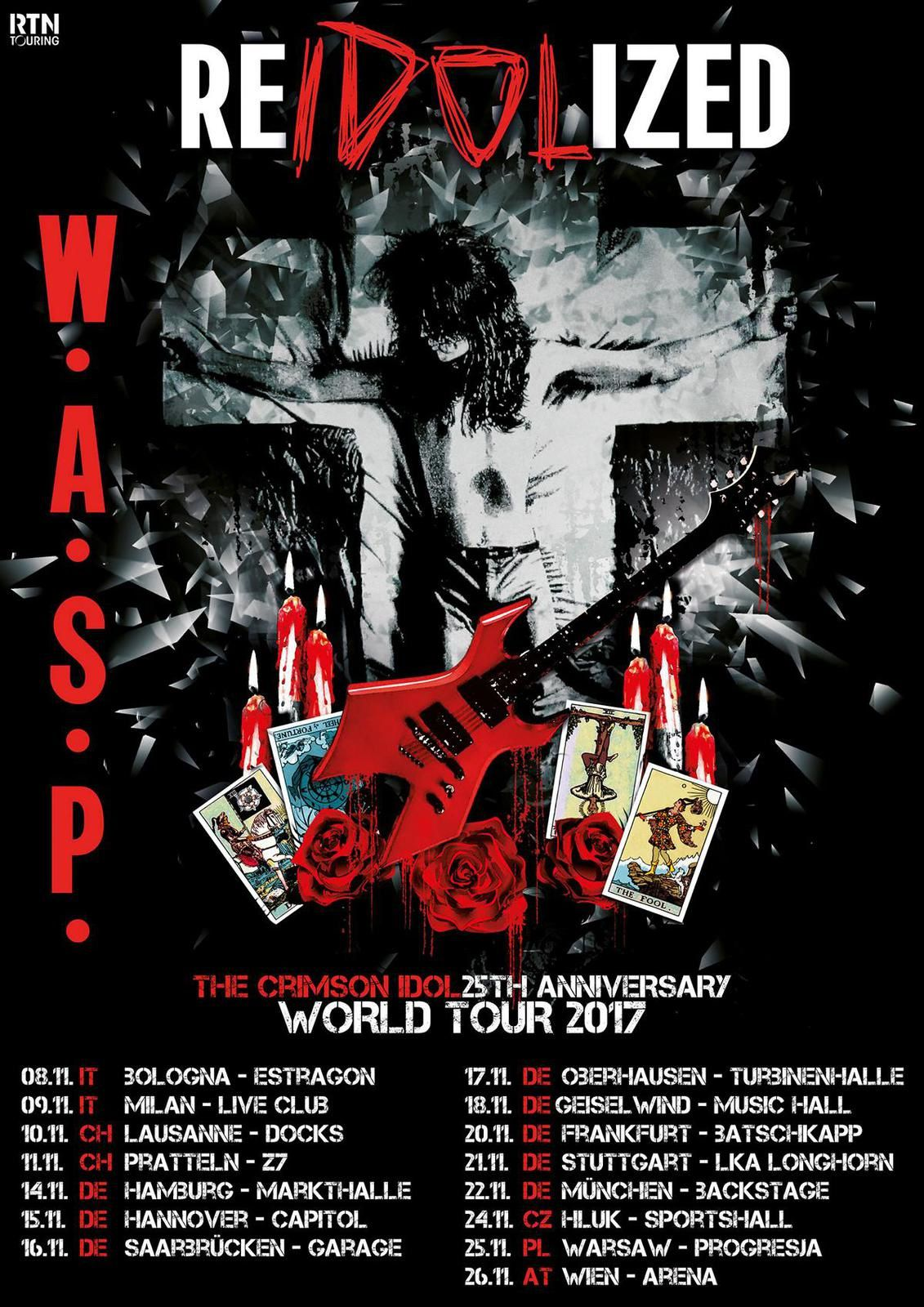 """W.A.S.P. tour dates for the """"The Crimson Idol"""" - 25 years anniversary tour"""