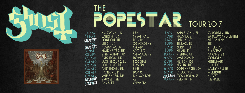 Tour dates GHOST - Popestar tour 2017