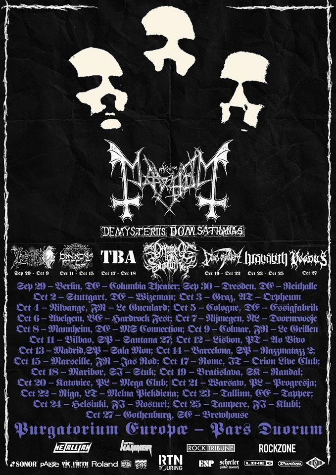 MAYHEM tour dates for Europe
