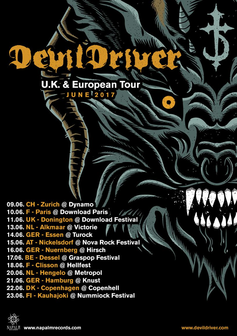 DEVILDRIVER tour dates for Europe and UK