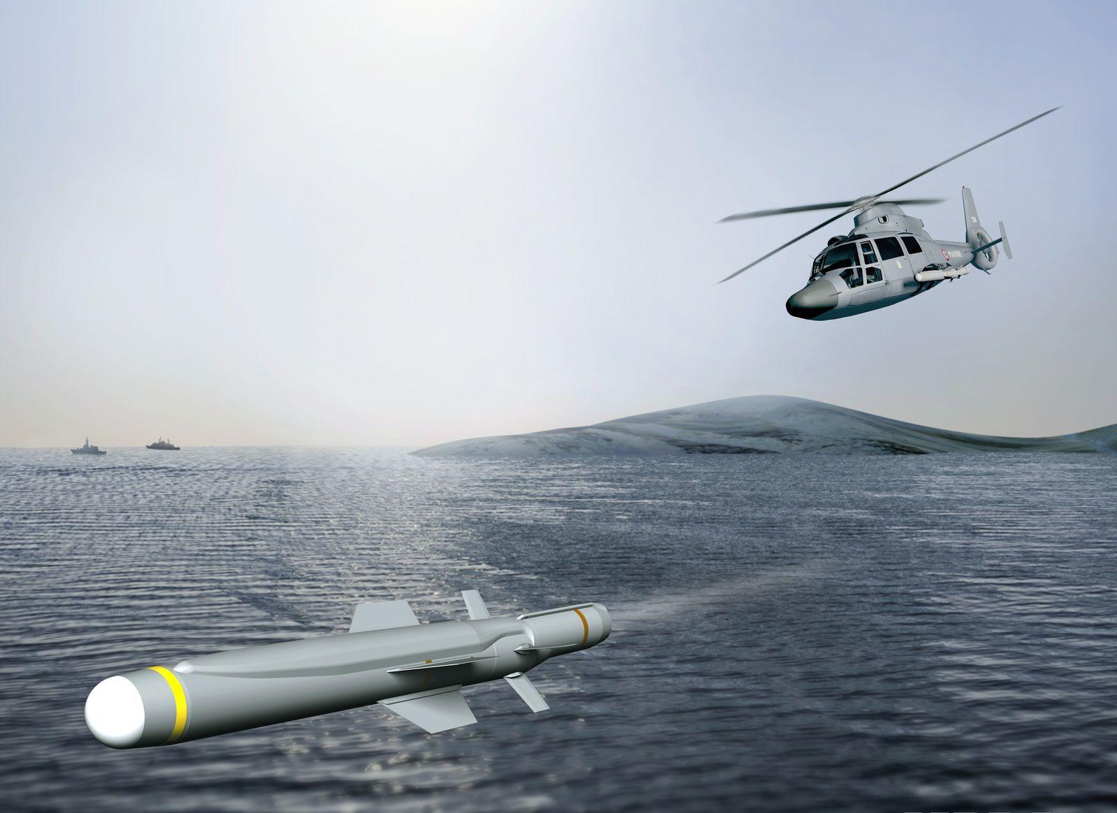 © MBD - Image de synthèse du tir de l'ANL par un hélicoptère Panther.