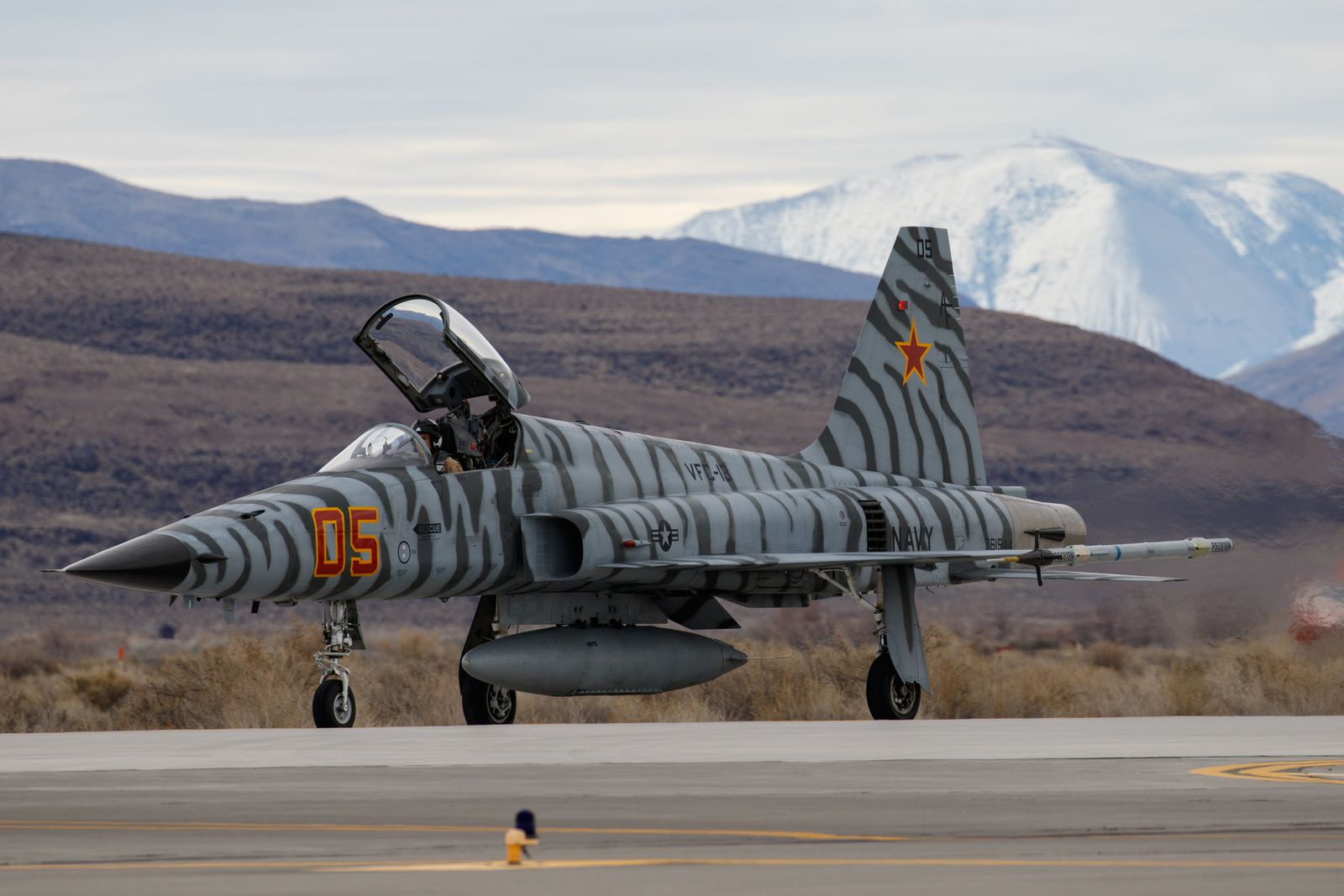 © Vincent Vagner - Un F-5N Tiger II du Fighter Squadron Composite (VFC-13) « Fighting Saints » sous sa superbe robe tigrée.