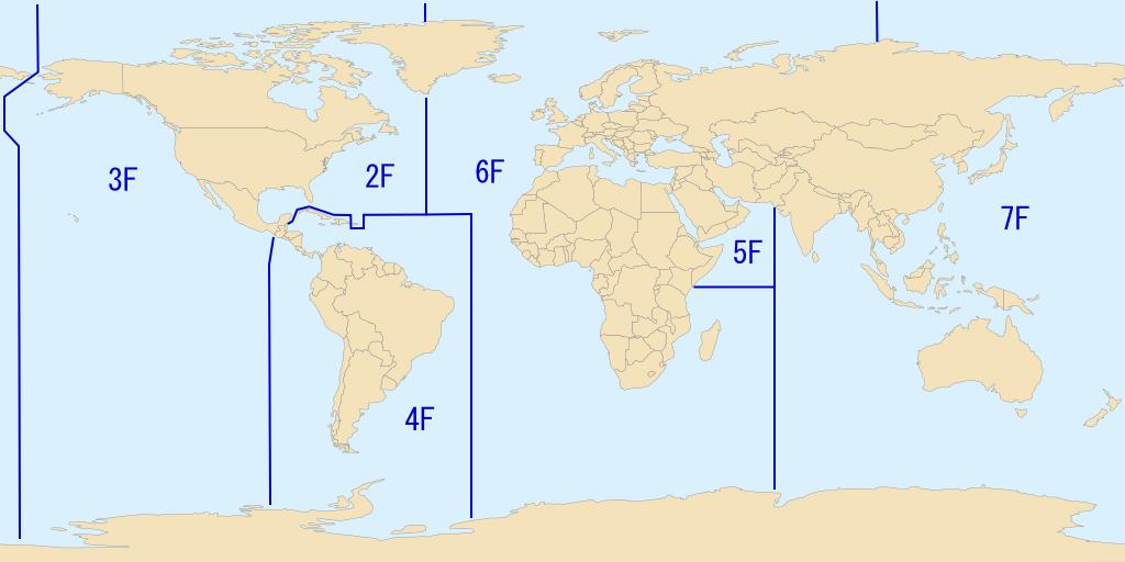 Découpage des zones assignées à chaque Flotte de l'US Navy.
