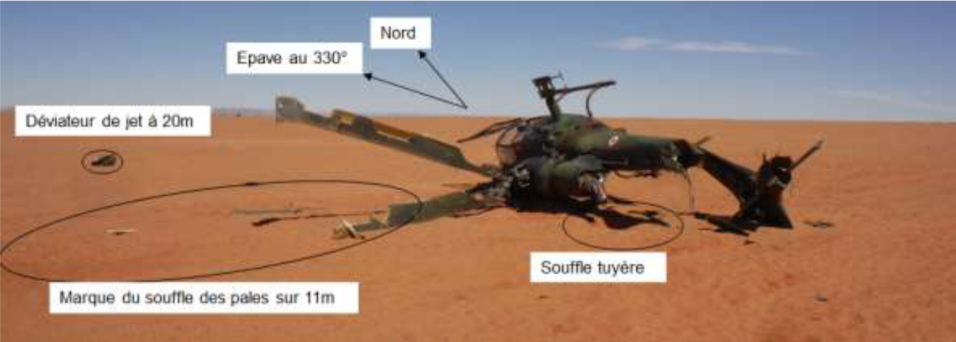 © photo issue du rapport BEAD-air T-2016-004-A - Gazelle accidentée le 09 février 2016, à Madama, au Niger.